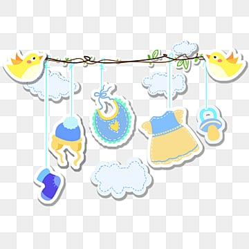 blue cartoon hand painted baby accessories, Cloud, Cartoon, Lovely PNG and PSD