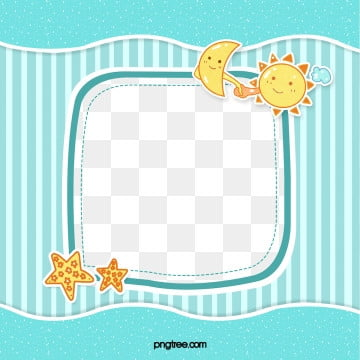 blue cute stripes sun moon baby frame, Cloud, Cartoon, Lovely PNG and PSD