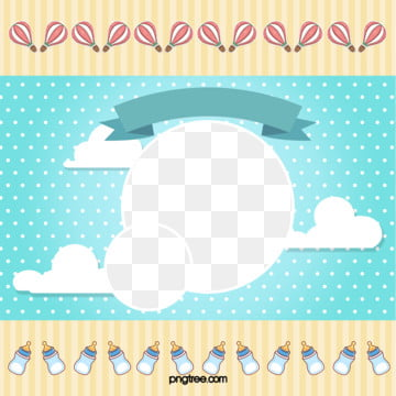 blue flat wind baby style frame, Flaky Clouds, Element, Cartoon PNG and PSD