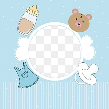 blue simple style baby frame, Nipple, Feeding Bottle, Baby PNG and PSD
