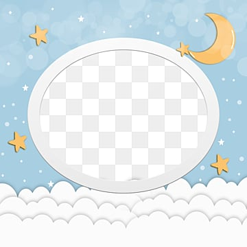blue simple style baby frame, Halo, Baby, Stars PNG and PSD