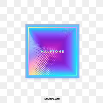 Color Halftone Laser Gradient Stereo Text Box, Color, Square, Label PNG and PSD