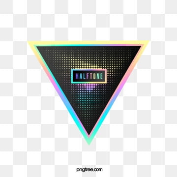 Color Halftone Triangular Gradient Text Box, Triangle, Color, Label PNG and PSD
