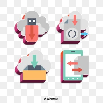 Design of stereo color effect icon for fashion of science and technology communication, Download, Cloud Technology, Transmission PNG and PSD