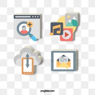 Fashion color cartoon technology communication Icon, 3d, Cloud Technology, Cartoon PNG and PSD