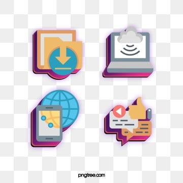 Fashion color stereo technology communication icon design, Download, Cartoon, Icon PNG and PSD