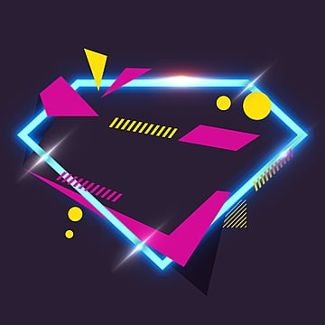 geometric neon border, Irregularity, Light, Geometric PNG and PSD