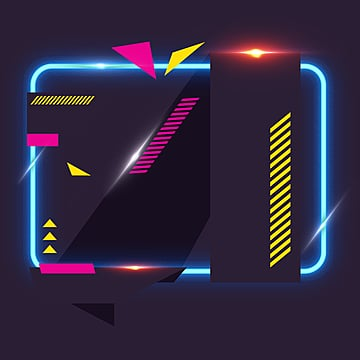 Geometric neon effect border, Irregularity, Light, Geometric PNG and PSD