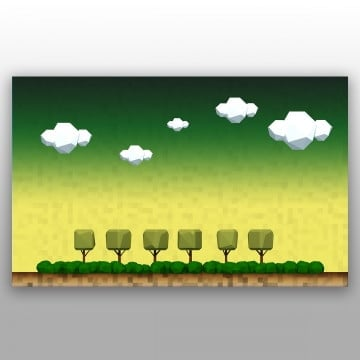 geometric tree landscape of a countryside, Nature, Landscape, Green PNG and PSD
