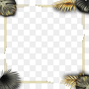 golden black gold effect tropical plant geometric border, Geometric, Creative, Magnificent PNG and PSD