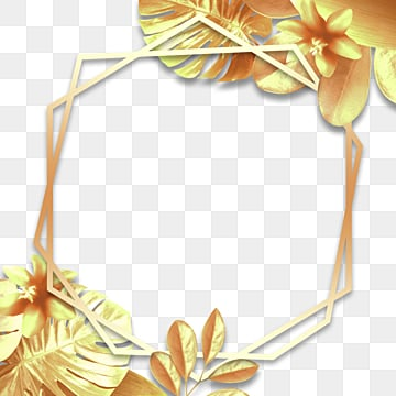 golden geometric decorative plant border, Geometric, Plant, Gradient PNG and PSD