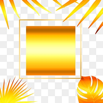 golden tropical bright plants geometric border, Geometric, Creative, Magnificent PNG and PSD
