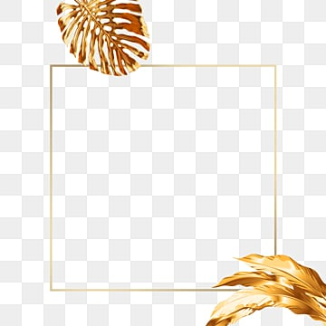 golden tropical plants rectangular border, Geometric, Creative, Magnificent PNG and PSD