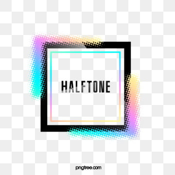 halftone color laser gradient square border, Color, Square, Label PNG and PSD