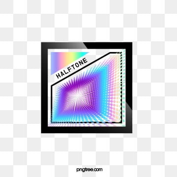 Halftone Color Laser Gradual Stereoscopic Text Box, Geometric, Color, Square PNG and PSD