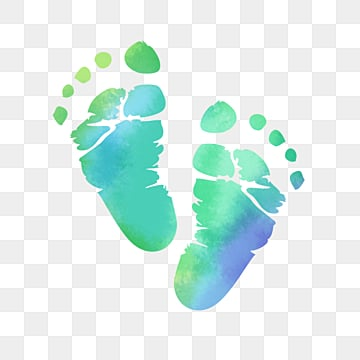 hand painted neonatal halo watercolor footprints, Coloured Drawing, Hand Painted, Newborn PNG and PSD