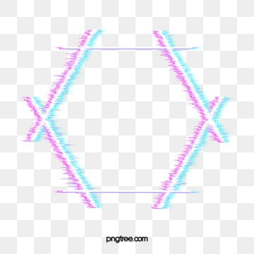 hexagonal neon failure style border, Element, Hexagon, Geometric PNG and PSD