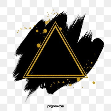 ink golden brush triangular border, Triangle, Ink, Brush PNG and PSD