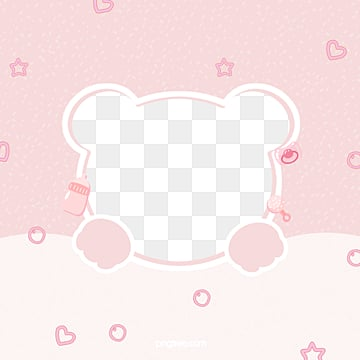 pink baby style photo frame, Five-pointed Star, Cartoon, Lovely PNG and PSD