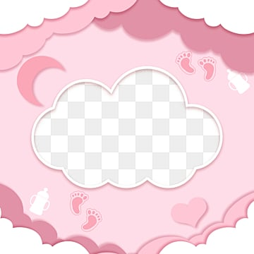 pink hand painted cute cloud baby style frame, A Bank Of Clouds, Feeding Bottle, Stars PNG and PSD
