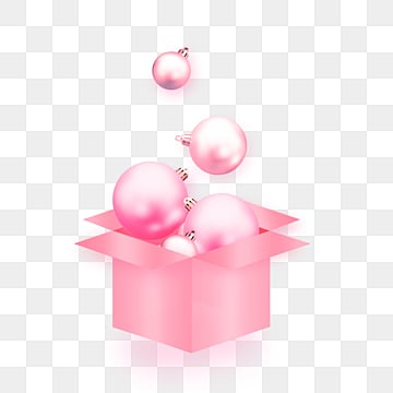 Pink Metal Gift Box Colored Balls Celebrate Festival Elements, Element, Lovely, Hanging Ball PNG and PSD
