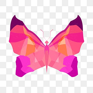 polygonal animal butterfly particle sense illustration, Low Polygon, Animal, Cartoon PNG and PSD