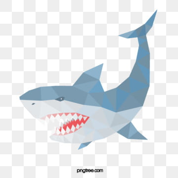 polygonal animal handpainted blue shark, Animal, Polygon, Hand Painted PNG and PSD