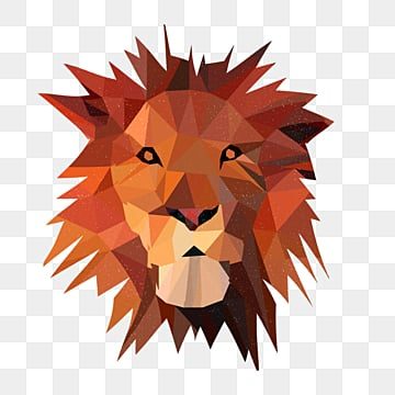 polygonal animal lion particle sense illustration, Low Polygon, Animal, Cartoon PNG and PSD