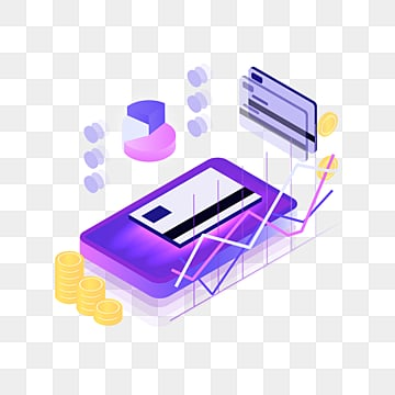 purple 25d mobile payment credit card element, 3d, Credit Card, Move PNG and PSD