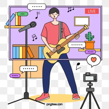 simple line drawing guitar playing and singing network male anchors daily live poster illustration element psd format, Sing, Daily Live Broadcasting, Simple Pen PNG and PSD