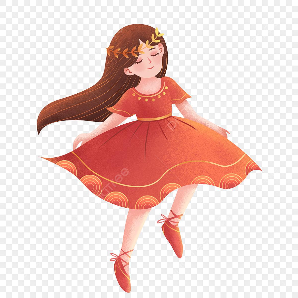 Disegno della ballerina color corallo rosso annuale sognare rosso