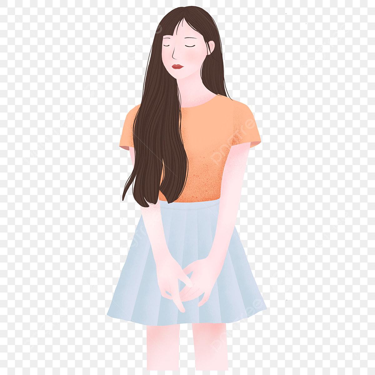 Gambar Kartun Wanita Png Gambar Keindahan Kartun Memakai Meditasi Rambut Panjang Gadis