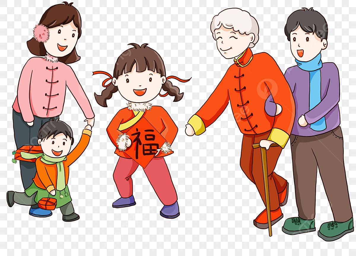 Personaje De Dibujos Animados Colorear Familia Línea Colorear