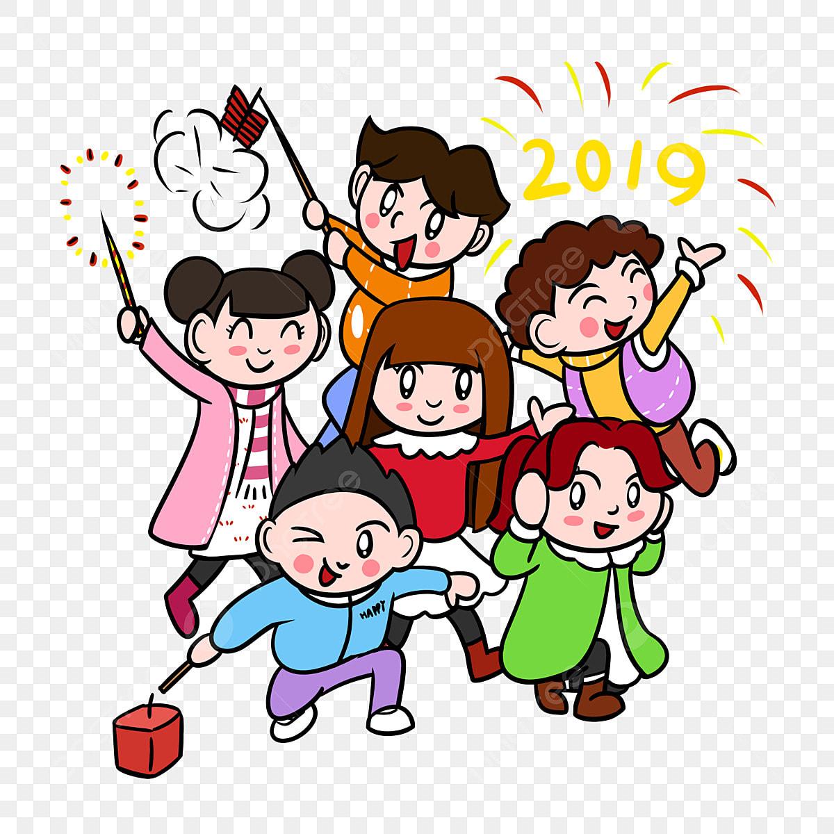 Caricatura Crianca Ano Novo 2019 Criancas Dos Desenhos Animados Longo Ano Novo Dos Desenhos Animados Imagem Png E Psd Para Download Gratuito