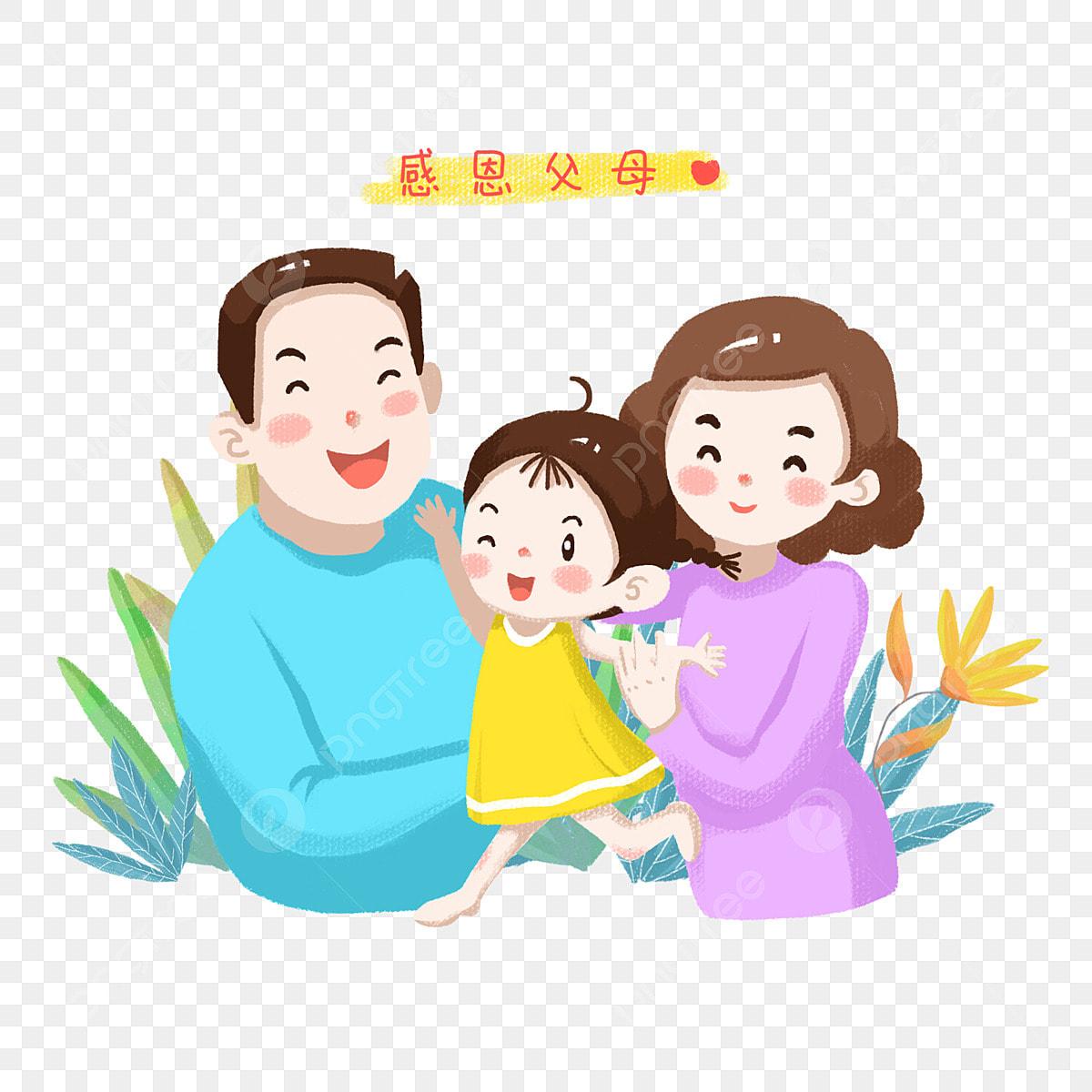 Tangan Kartun Dilukis Terima Kasih Ibu Dan Ayah Ibu Bapa Kesyukuran Thanksgiving Menghormati Ibu Bapaa Kapur Krim Per A Png Dan Psd