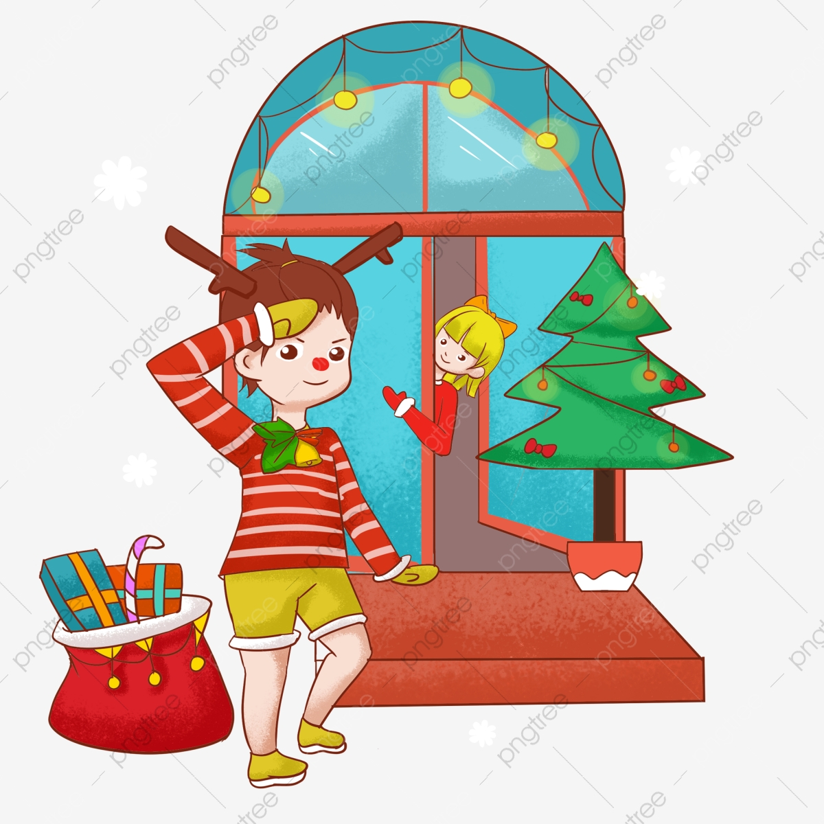 Christmas Giving Clipart.Christmas Elk Little Boy Christmas Gifts Merry Christmas