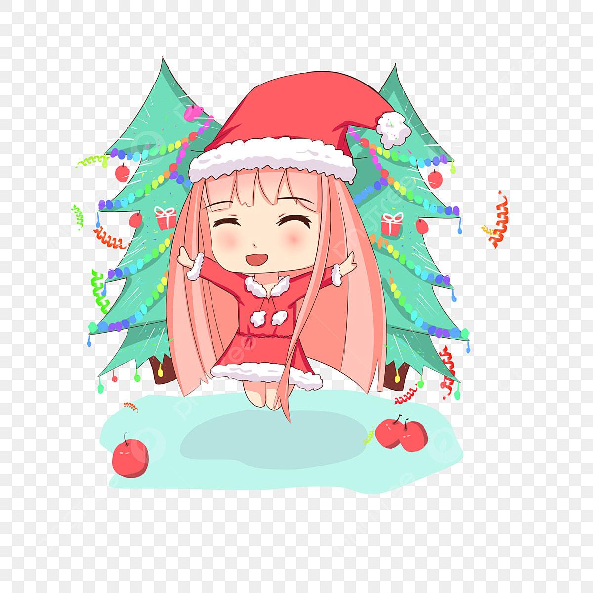 Christmas Girl Hand Drawn Cartoon Character Color Decoration