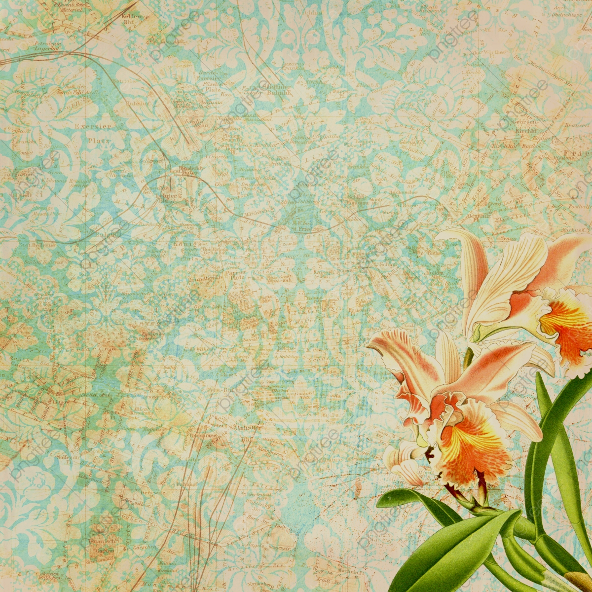 Decorative Vintage Floral Wallpaper Background Vintage Floral