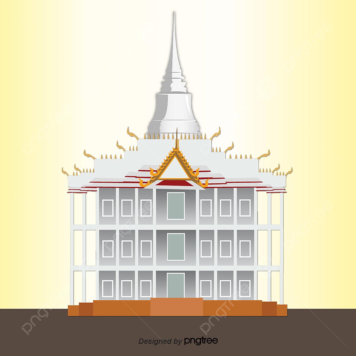 Kartun Thai Seni Bina Kuil Unsur Unsur Bentuk Tiga Lapisan