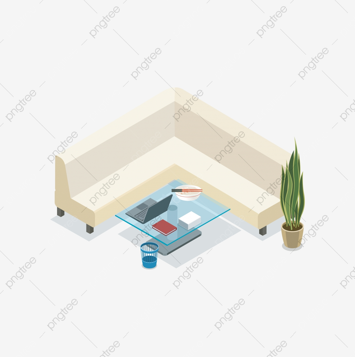 Glass Table Potted Plant Coffee Table Office Indoor Cartoon