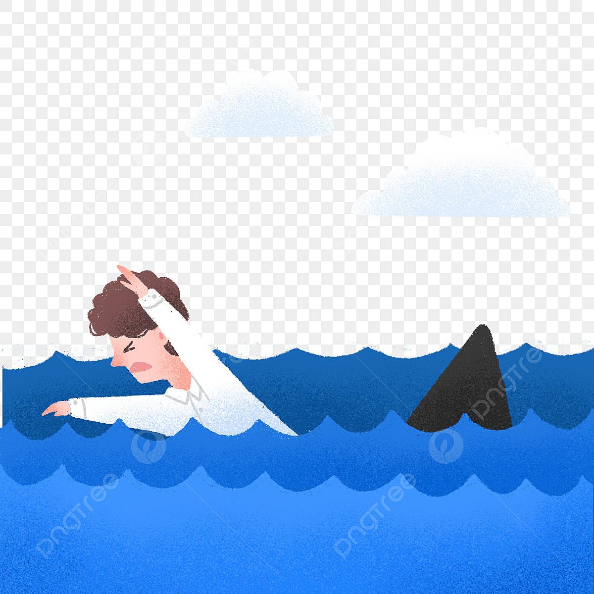 وضع اليد لطيف رجل يسبح في البحر قرش مرسومة باليد جذاب Png وملف Psd للتحميل مجانا