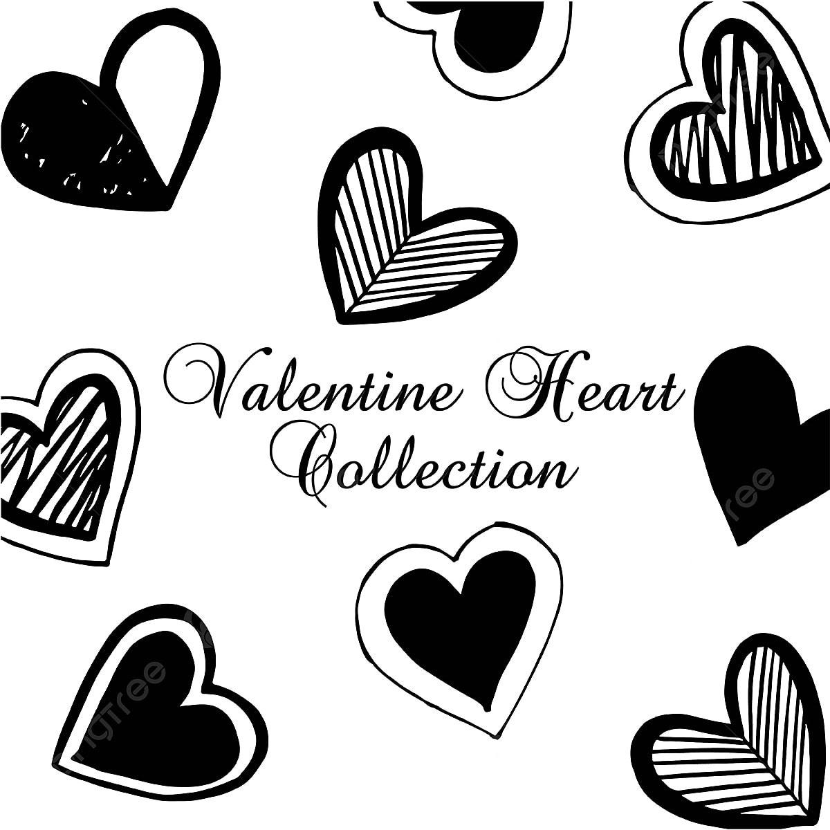 Hand Drawn Valentine Heart Collection Hand Drawn Handmade