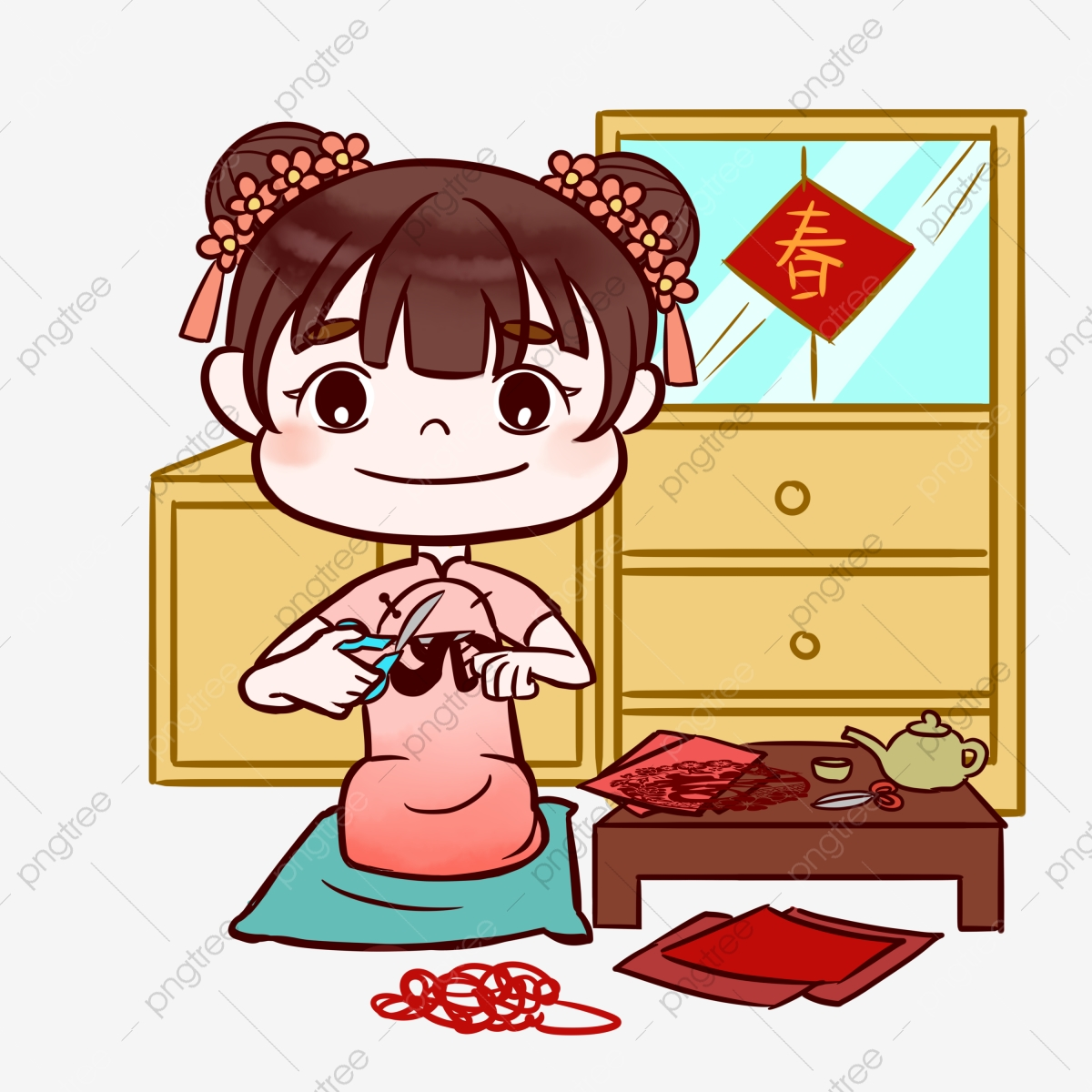Happy Girl Cartoon Illustration Hand Drawn New Year Illustration Chinese  New Year Festival Illustration, Paper Cut Mom, Red Paper Cut, Happy Girl  PNG Transparent Clipart Image and PSD File for Free Download