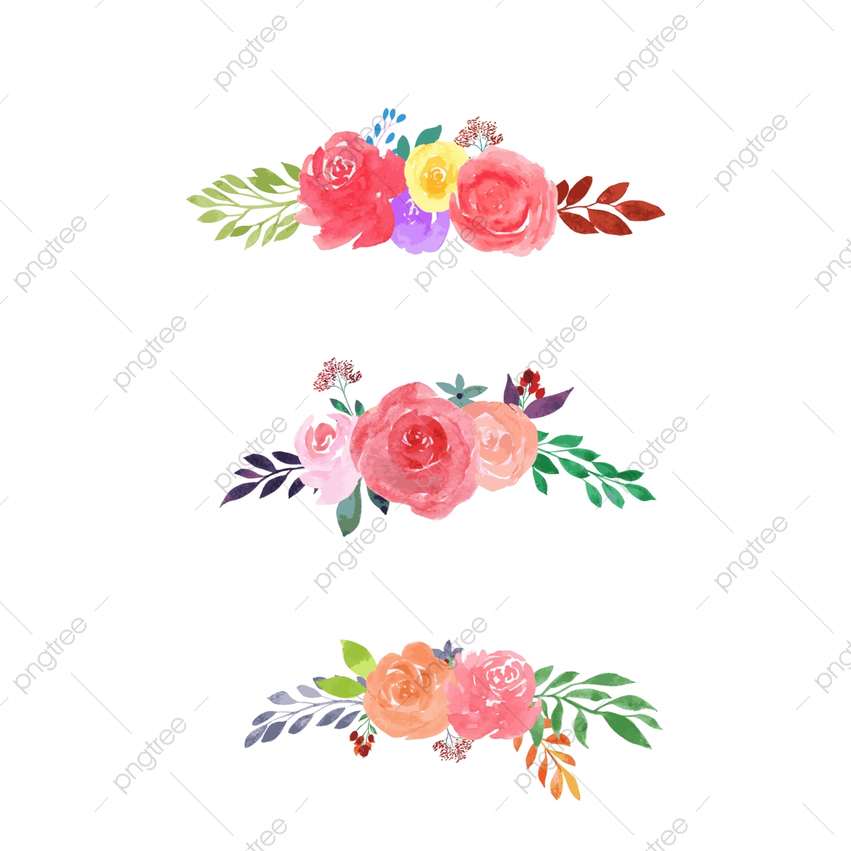 Hand Painted Floral Bouquet Collection Watercolor Flowers Flower