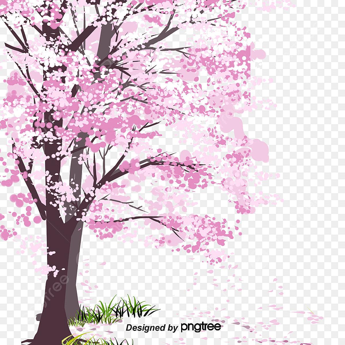 Pink Musim Bunga Sakura Mekar Kartun Jepun Romantis Bahan Kartun