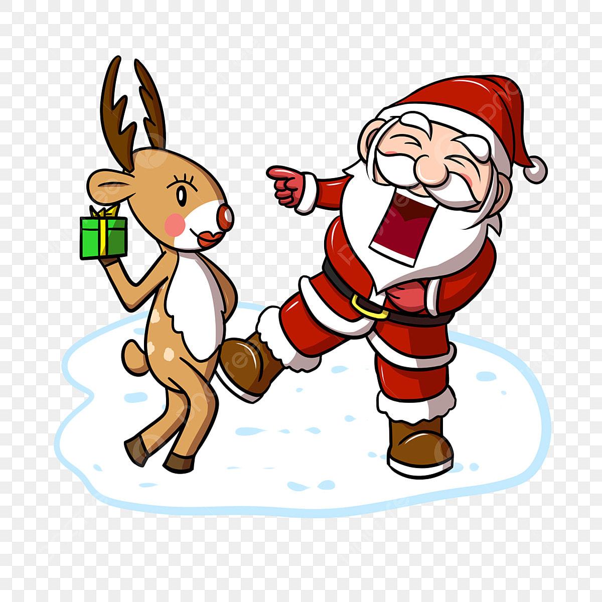 Christmas Humor Clip Art.Santa Claus Cartoon Reindeer Christmas Funny Winter Snow