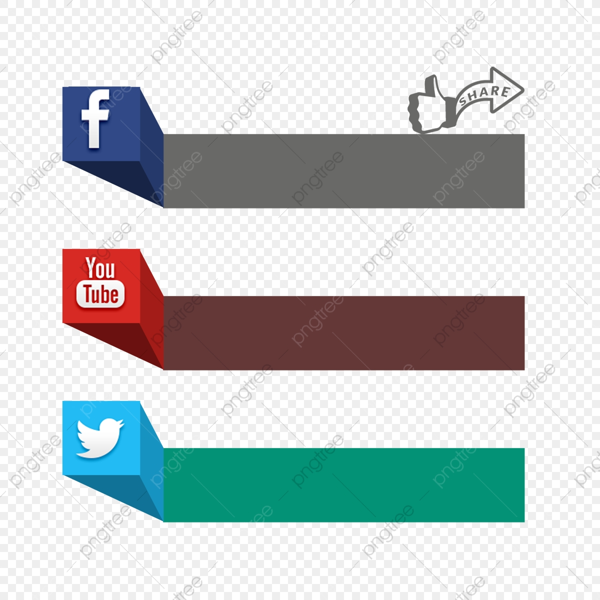 Social Media 3d Icon Facebook Page Youtube Channel Label
