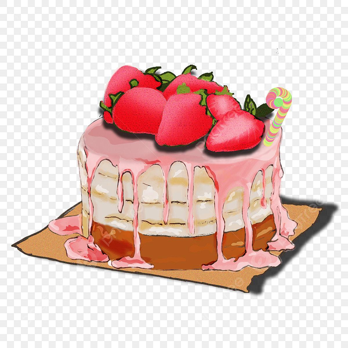 Tarta De Fresas Pastel Creativo Fresa Comida De Dibujos Animados