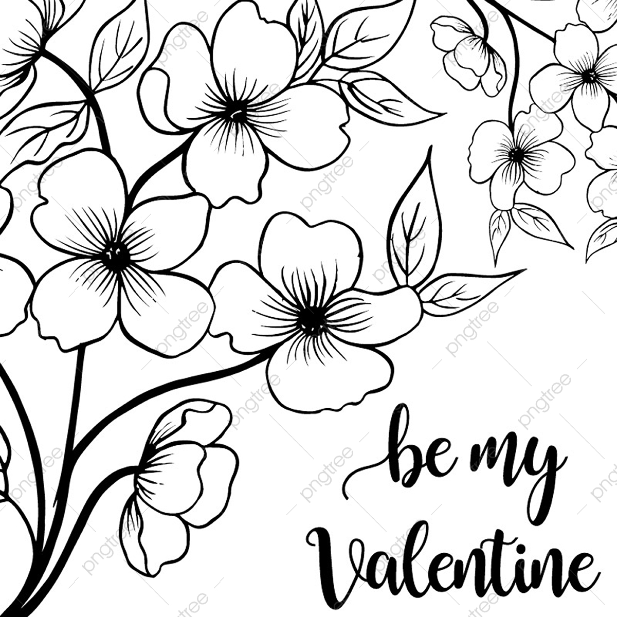 Valentine Hand Drawn Floral Background Black And White Petal
