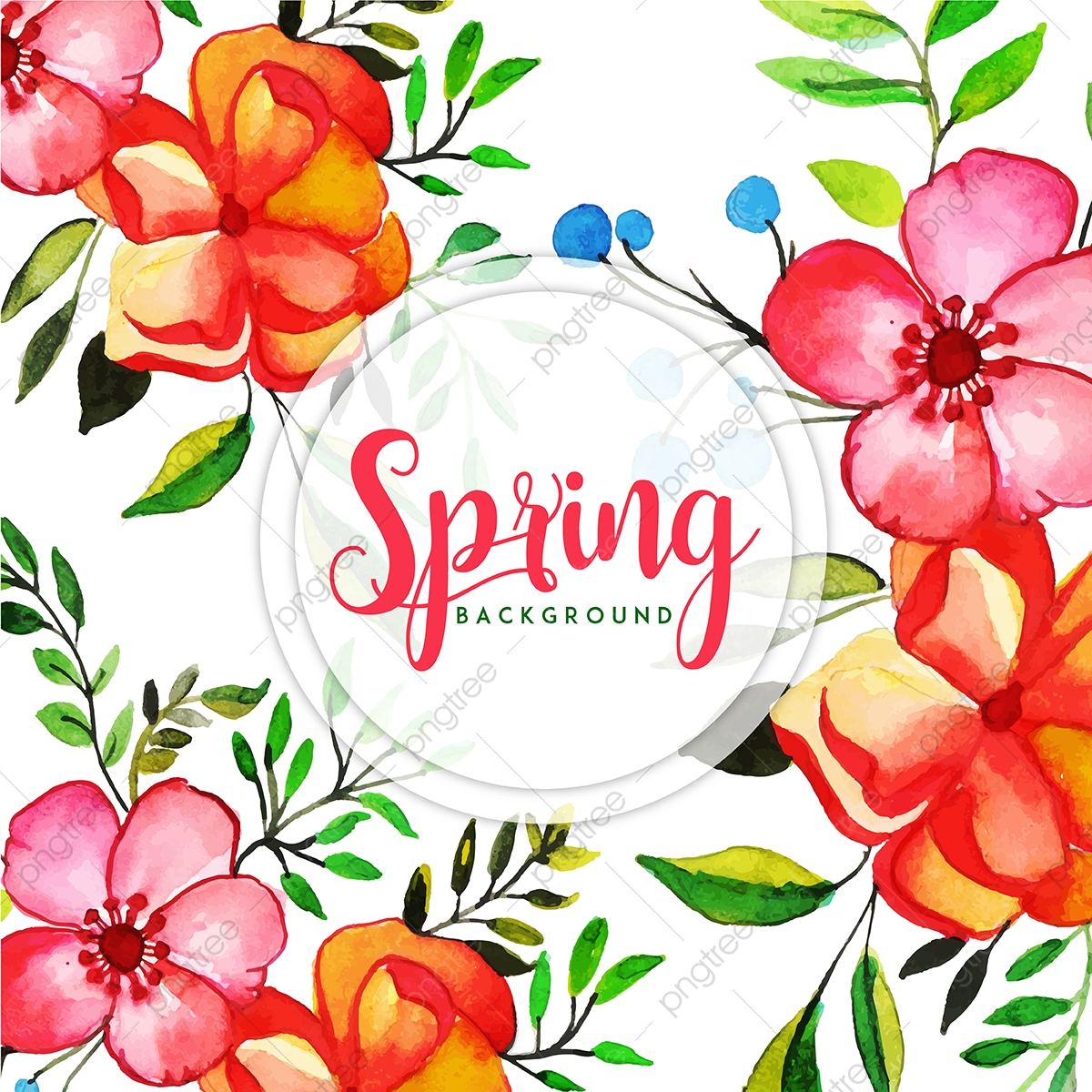 Watercolor Spring Floral Background Watercolor Color Paint Png
